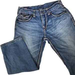 Men True Religion Ricky Super Straight Jeans SHORT